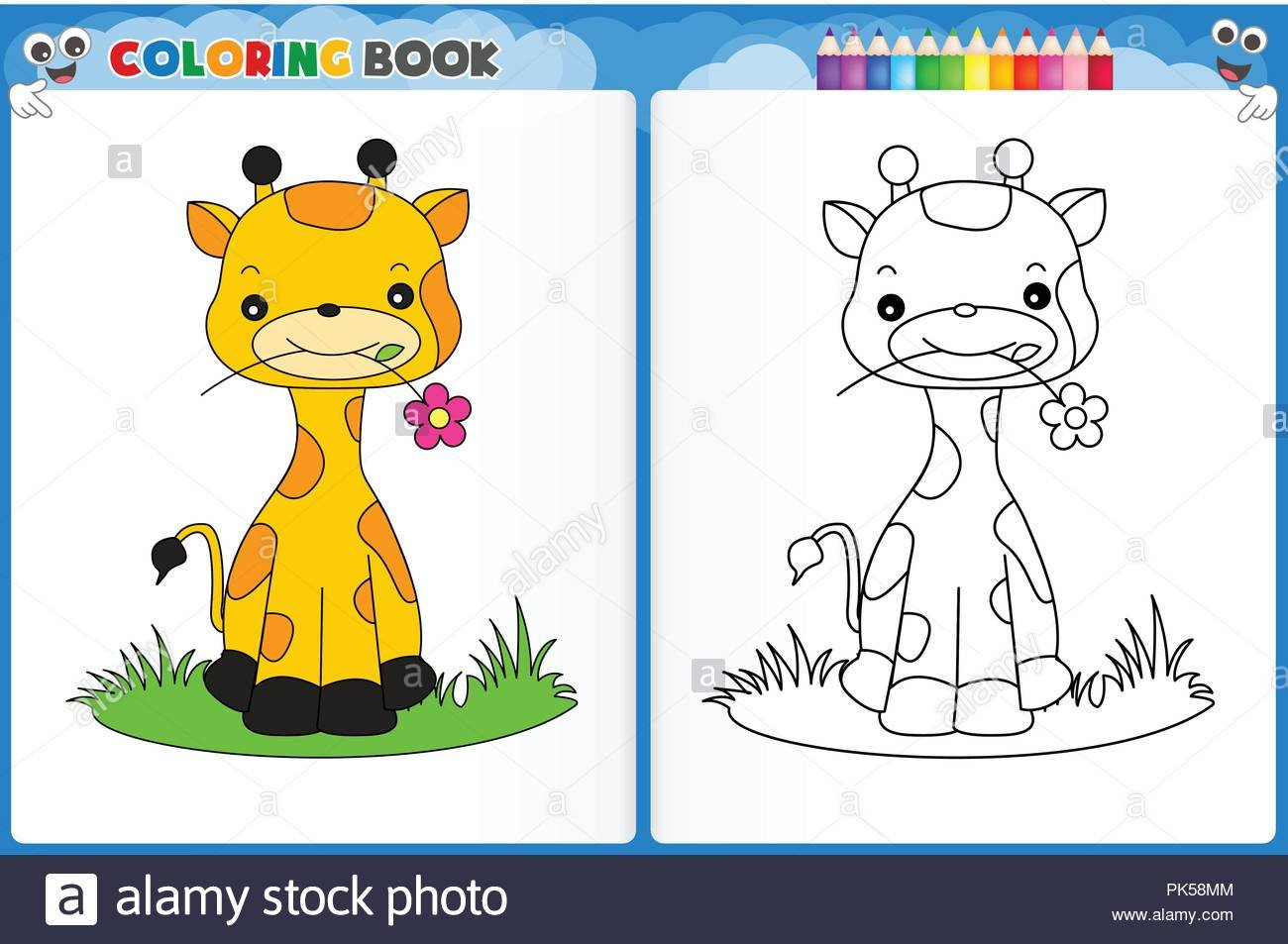 coloring page cute giraffe with colorful sample printable worksheet for preschool kindergarten kids to improve basic coloring skills PK58MM