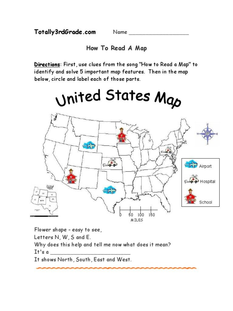 Map Scale Worksheet 3rd Grade 3rd Grade How to Read A Map Worksheet Map