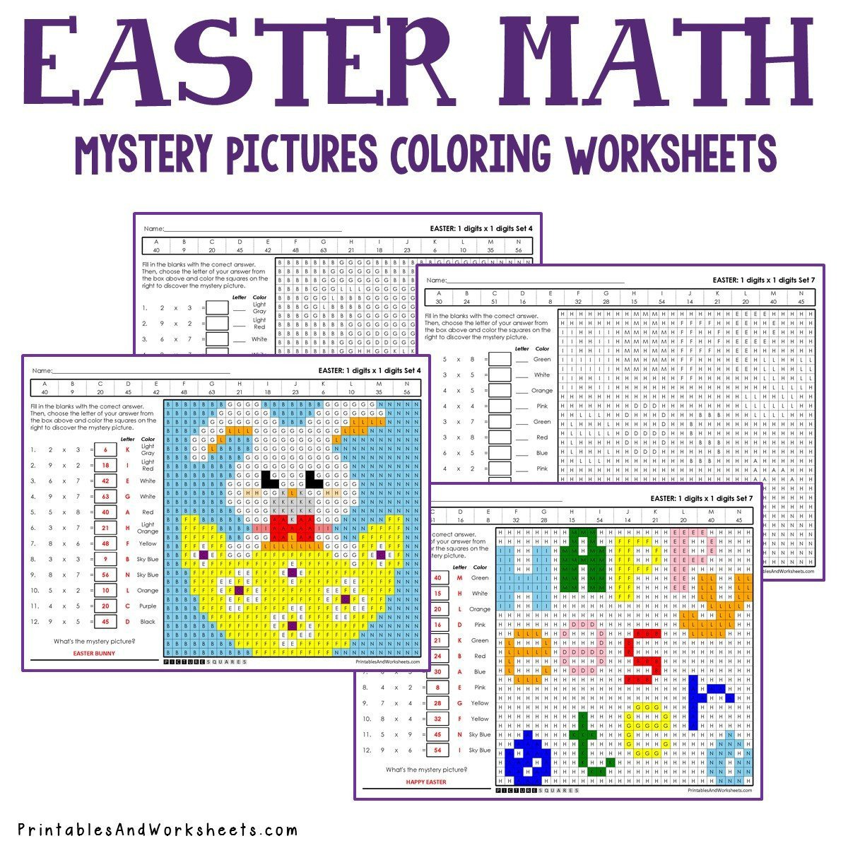 Math Mystery Picture Worksheets Easter Multiplication Coloring Worksheets
