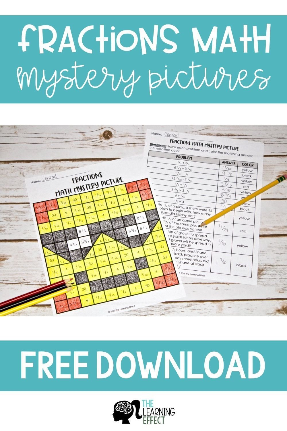 Math Mystery Picture Worksheets Free Fractions Math Mystery Picture Practice Adding