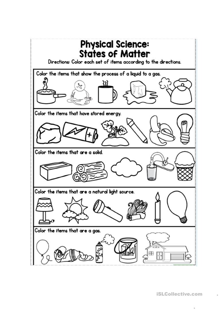 Matter Worksheets for Kindergarten Matter and Energy Worksheet Energy Etfs