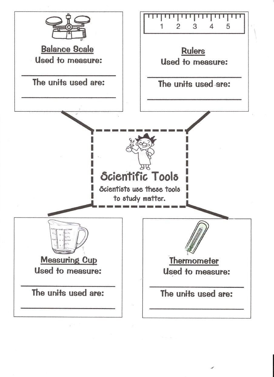 Matter Worksheets for Kindergarten Matter tools 0001