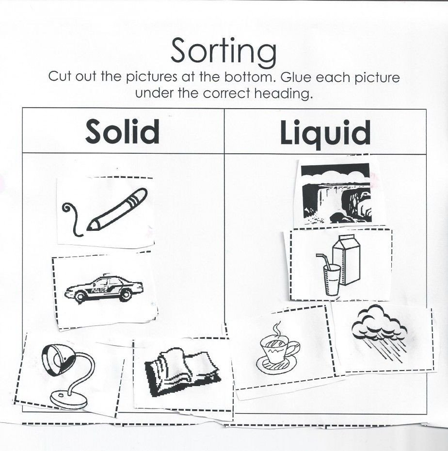 Matter Worksheets for Kindergarten solid Liquid Worksheet