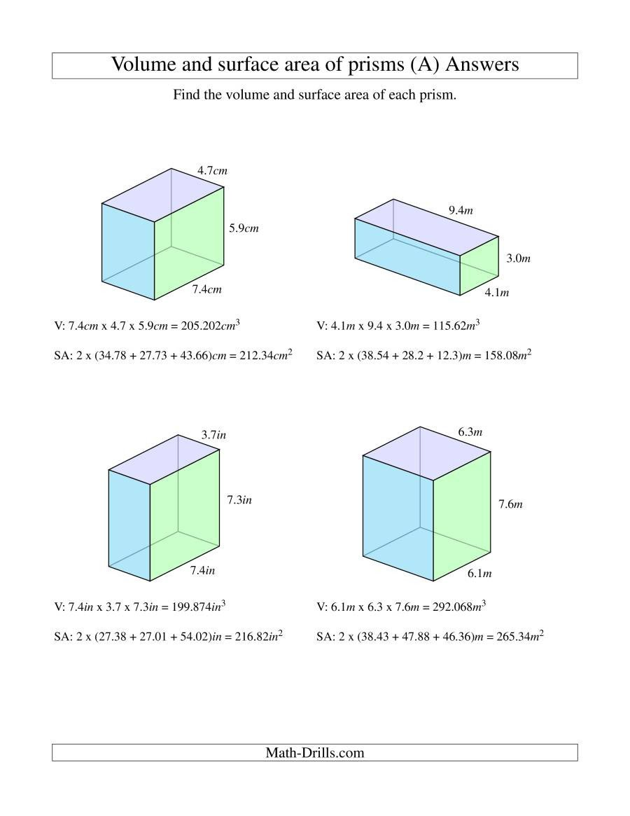 Measurement Volume Worksheets Volume and Surface area Of Rectangular Prisms with Decimal