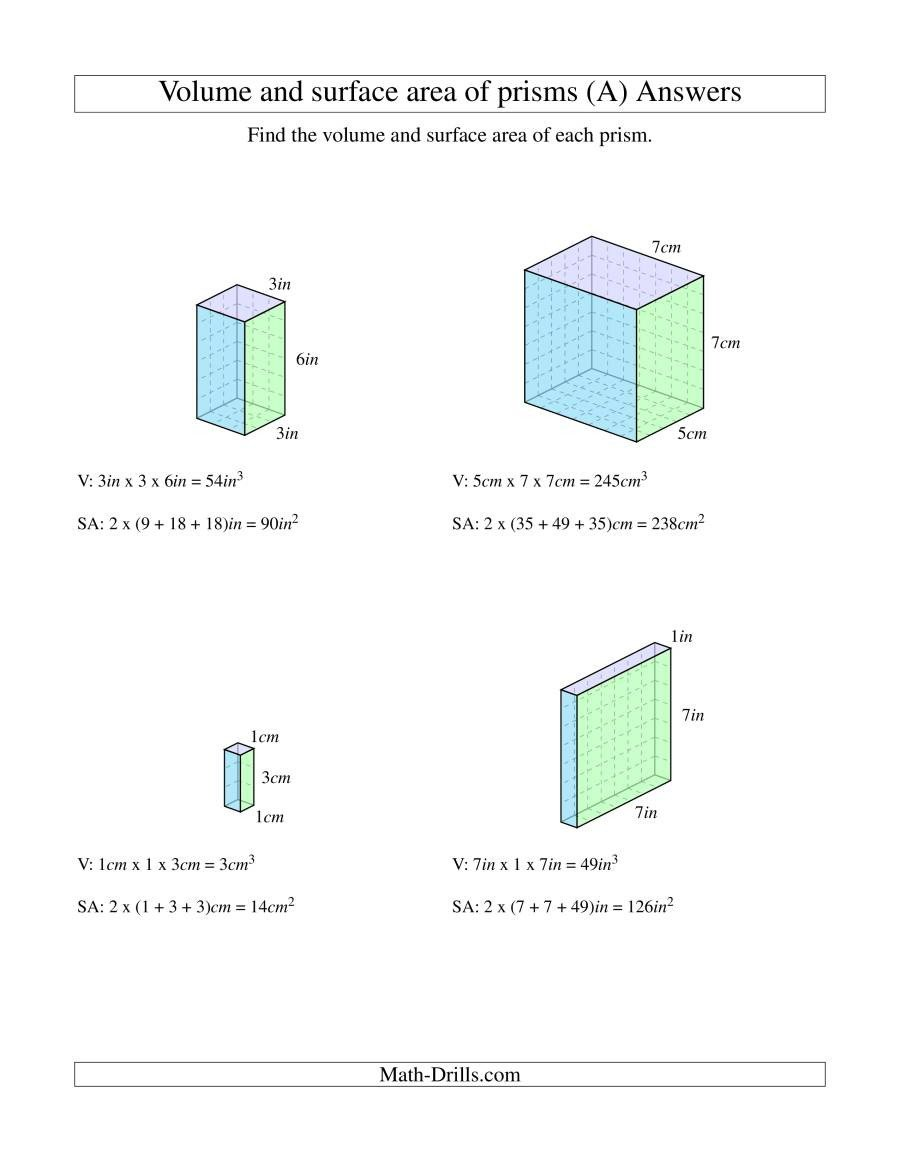 Measurement Volume Worksheets Volume and Surface area Of Rectangular Prisms with whole
