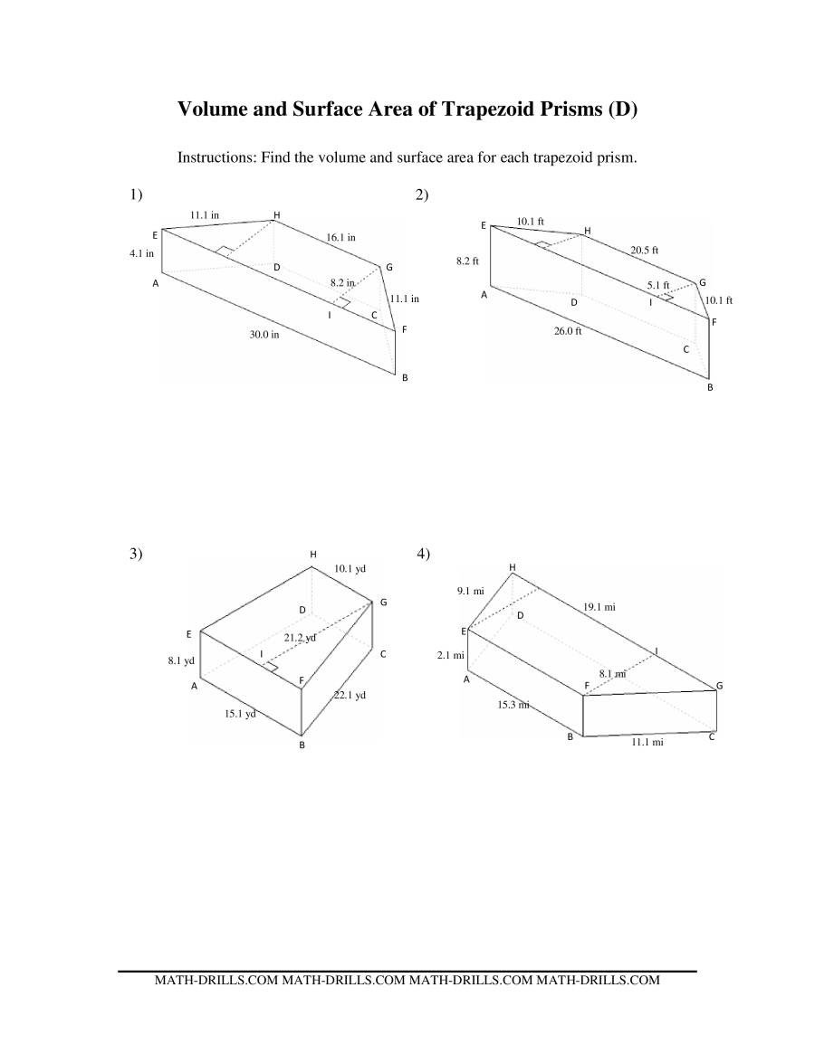 Measurement Volume Worksheets Volume and Surface area Of Trapezoid Prisms