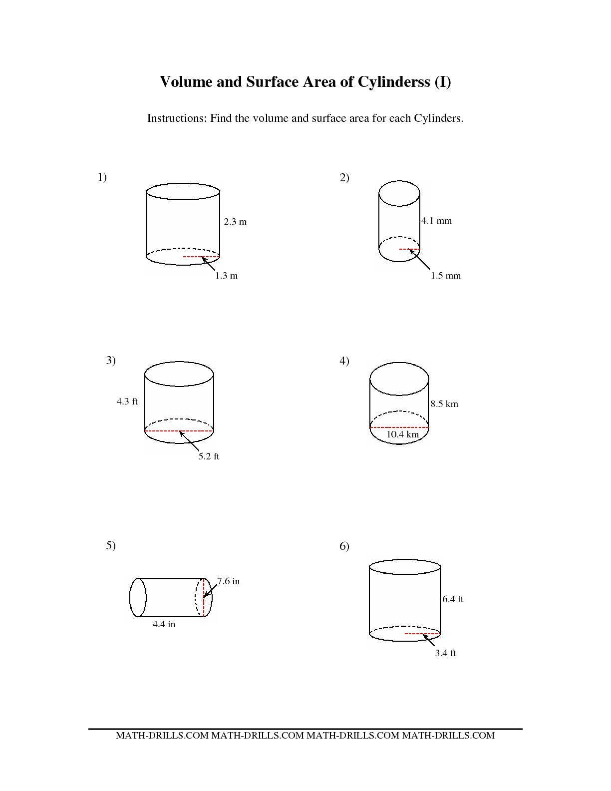 Measurement Volume Worksheets Volume Cylinder Worksheet Answers