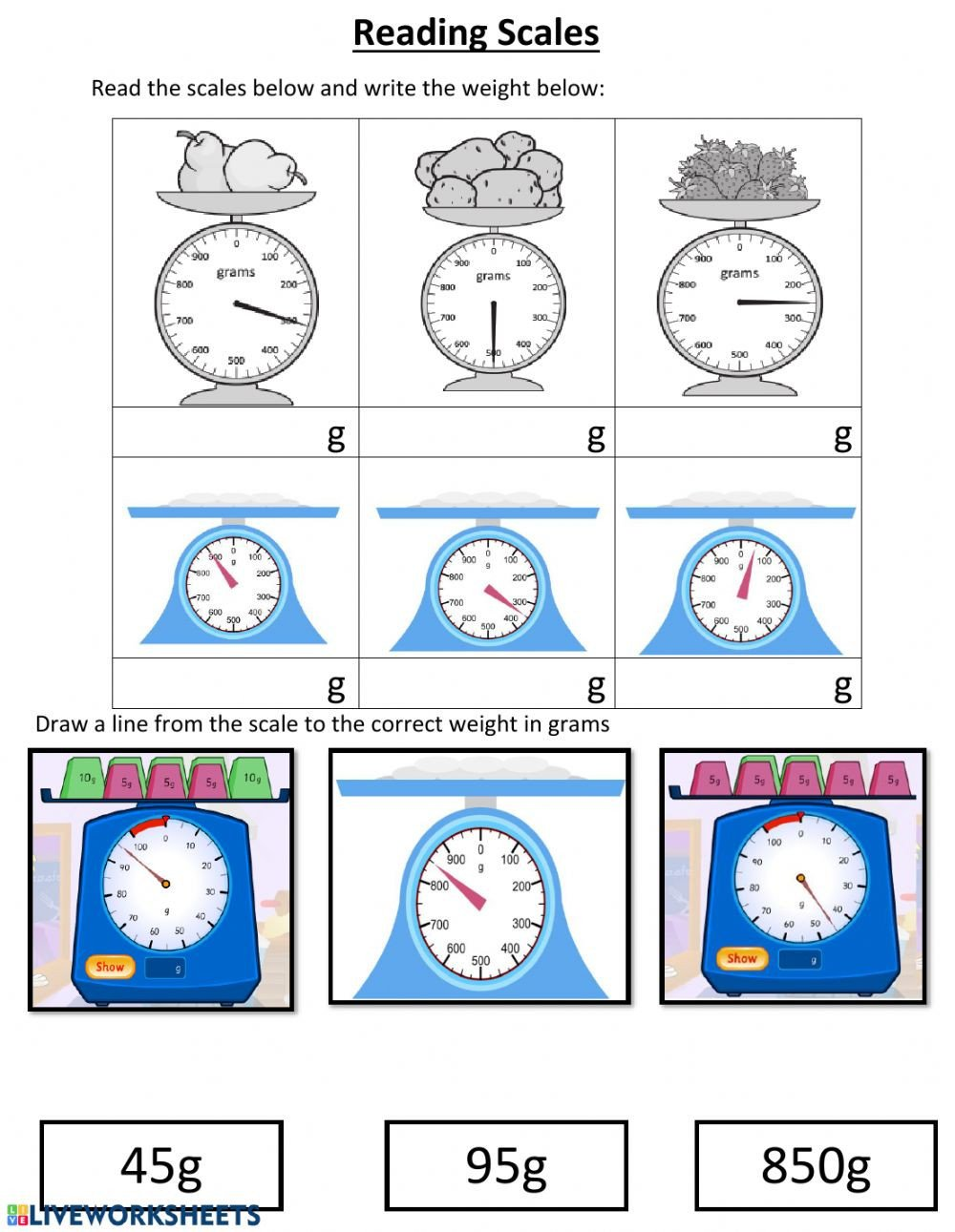 Measuring Weight Worksheets Reading Scales Interactive Worksheet