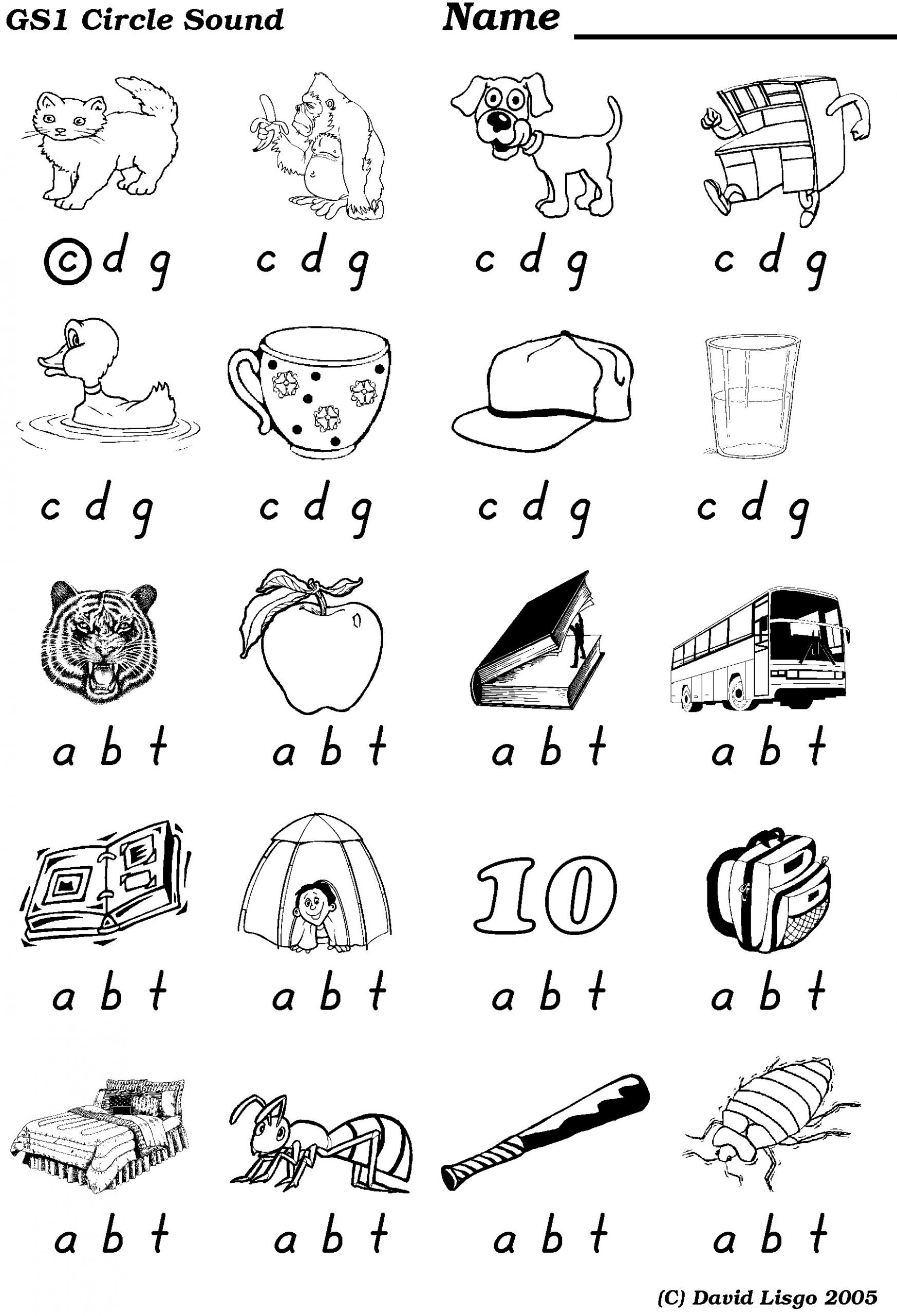 medial sounds worksheets first grade circle sound