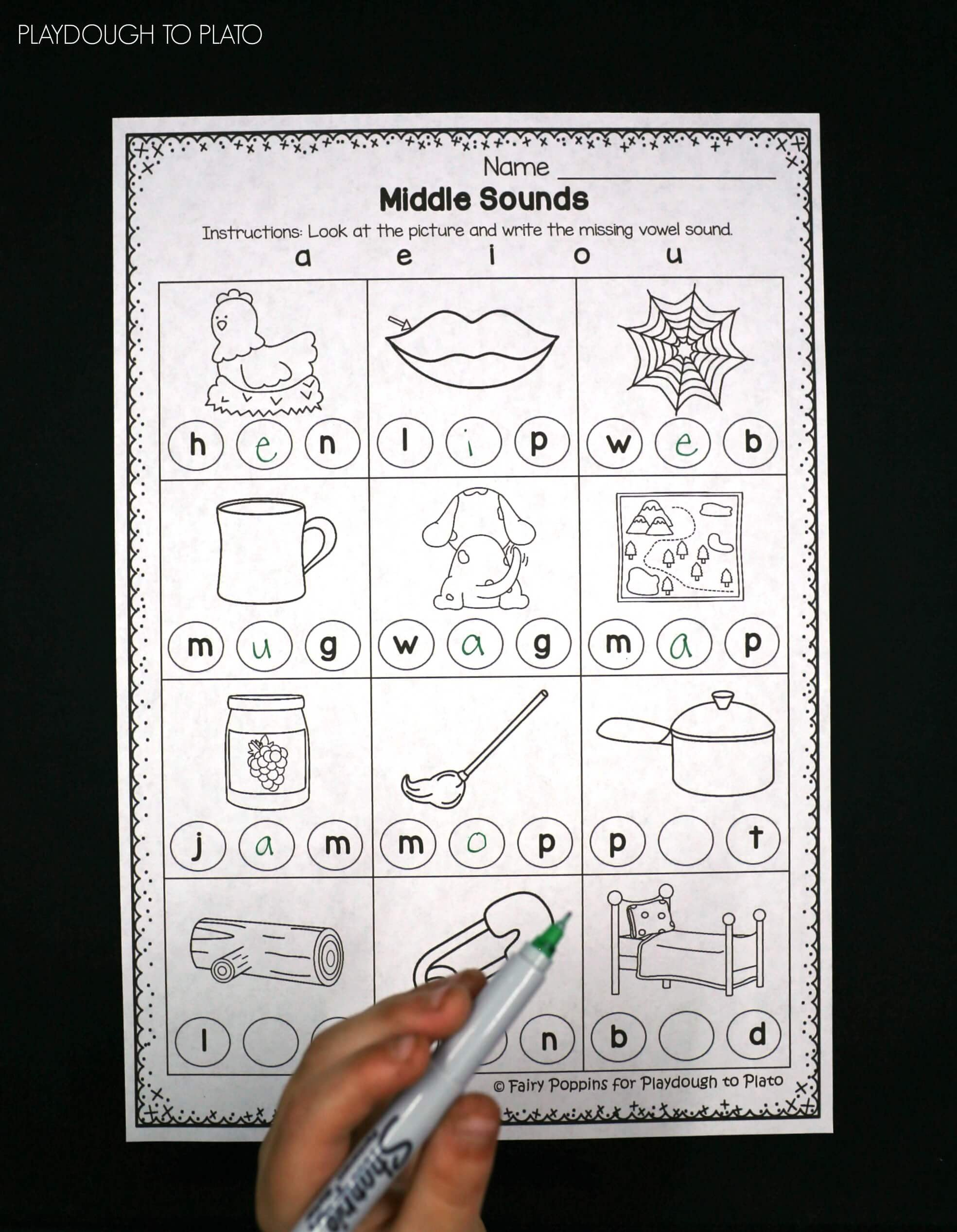 Free Middle Sound Worksheets