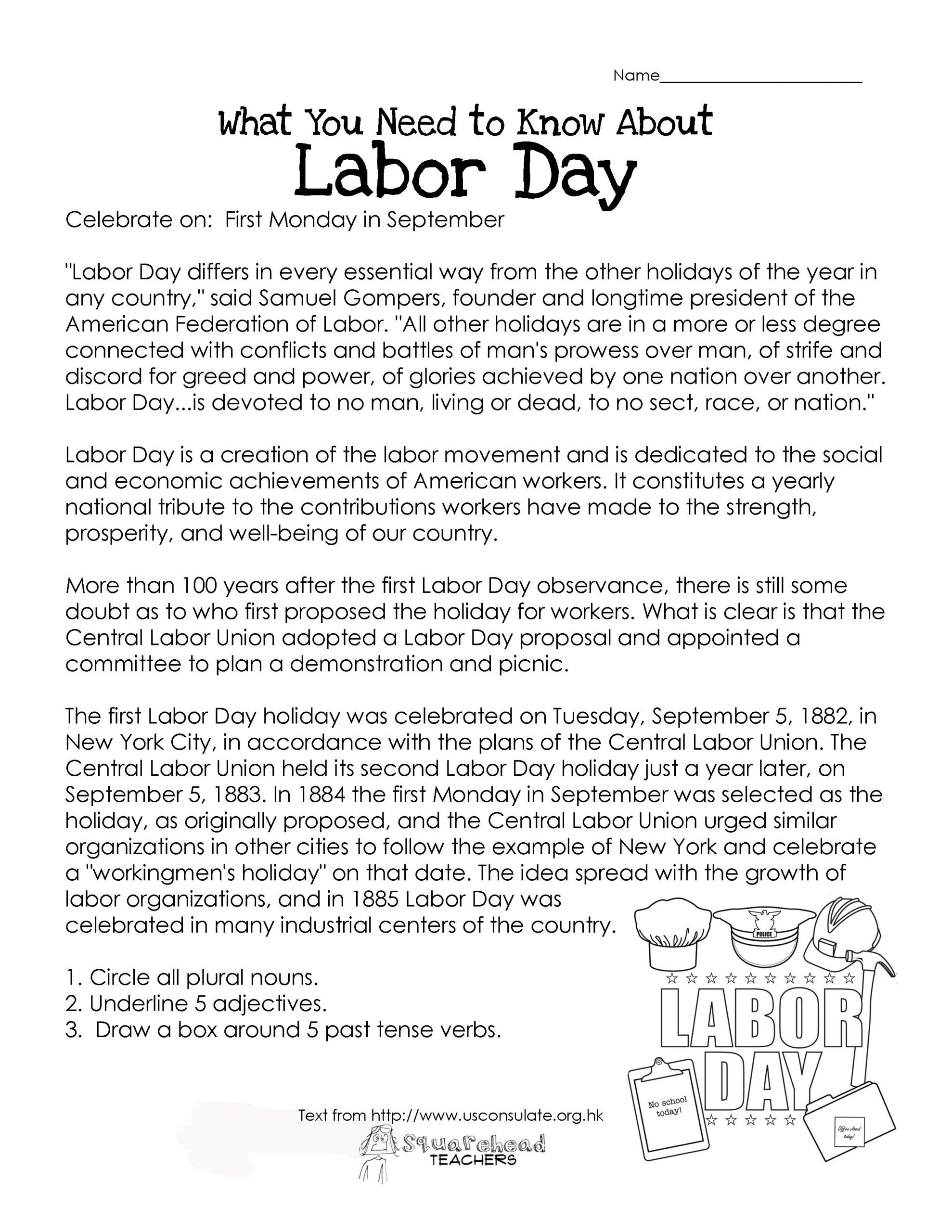 Memorial Day Worksheets for Kids Labor Day What You Need to Know Free Worksheet