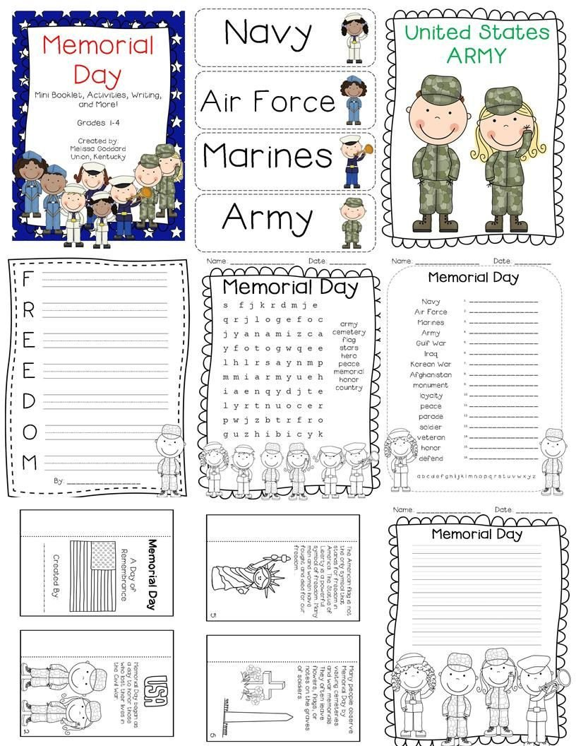 Memorial Day Worksheets for Kids Memorial Day Activities Mini Book Writing and Posters