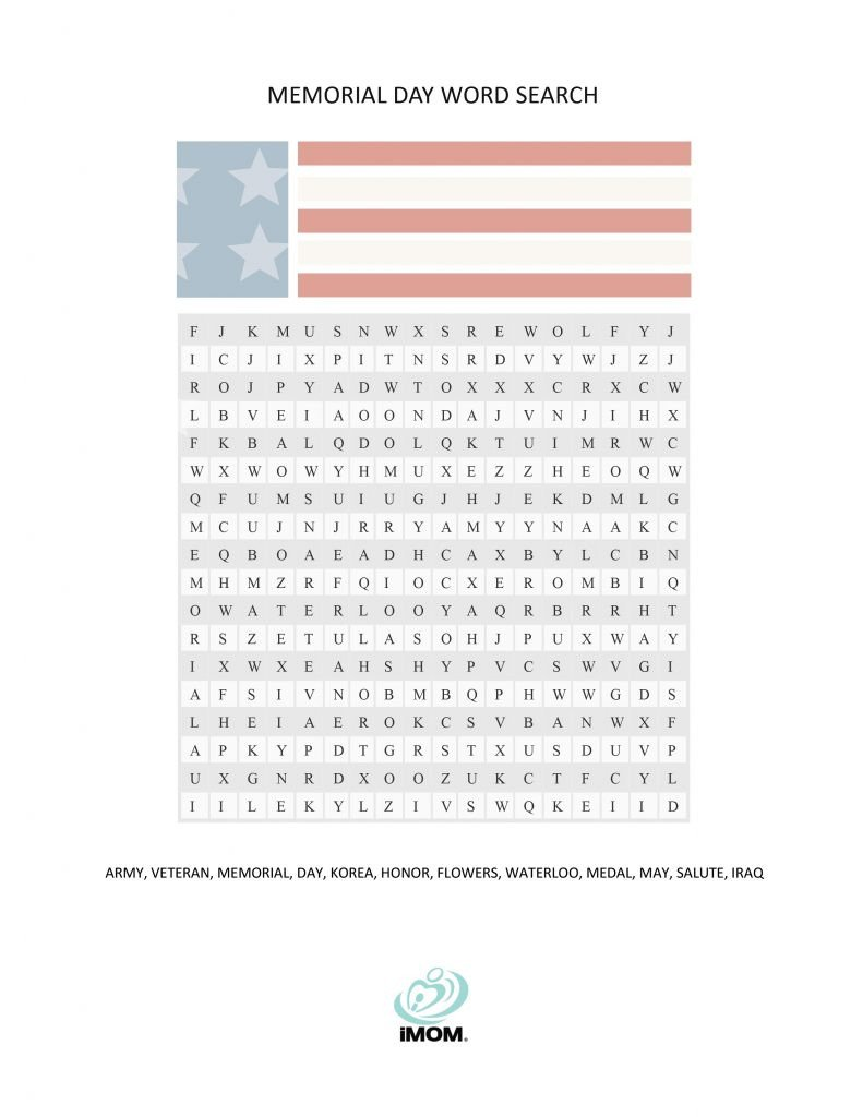 Memorial Day Worksheets for Kids Memorial Day Word Search Imom