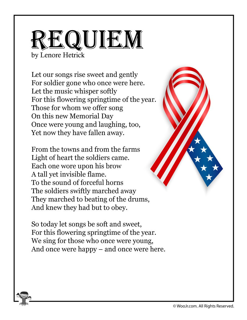 Memorial Day Worksheets for Kids Requiem Children S Memorial Day Poem