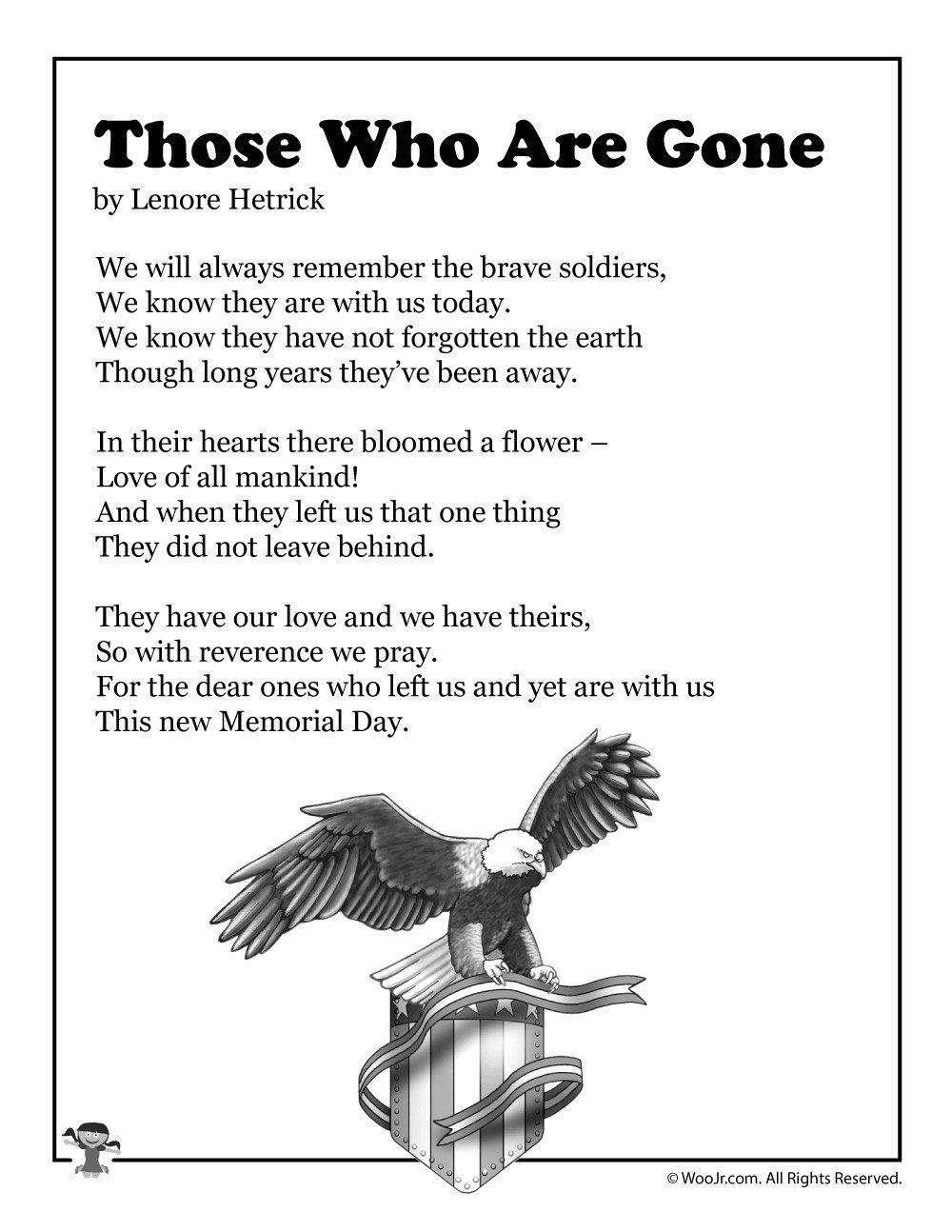 Memorial Day Worksheets for Kids Those who are Gone Children S Poetry for Memorial Day