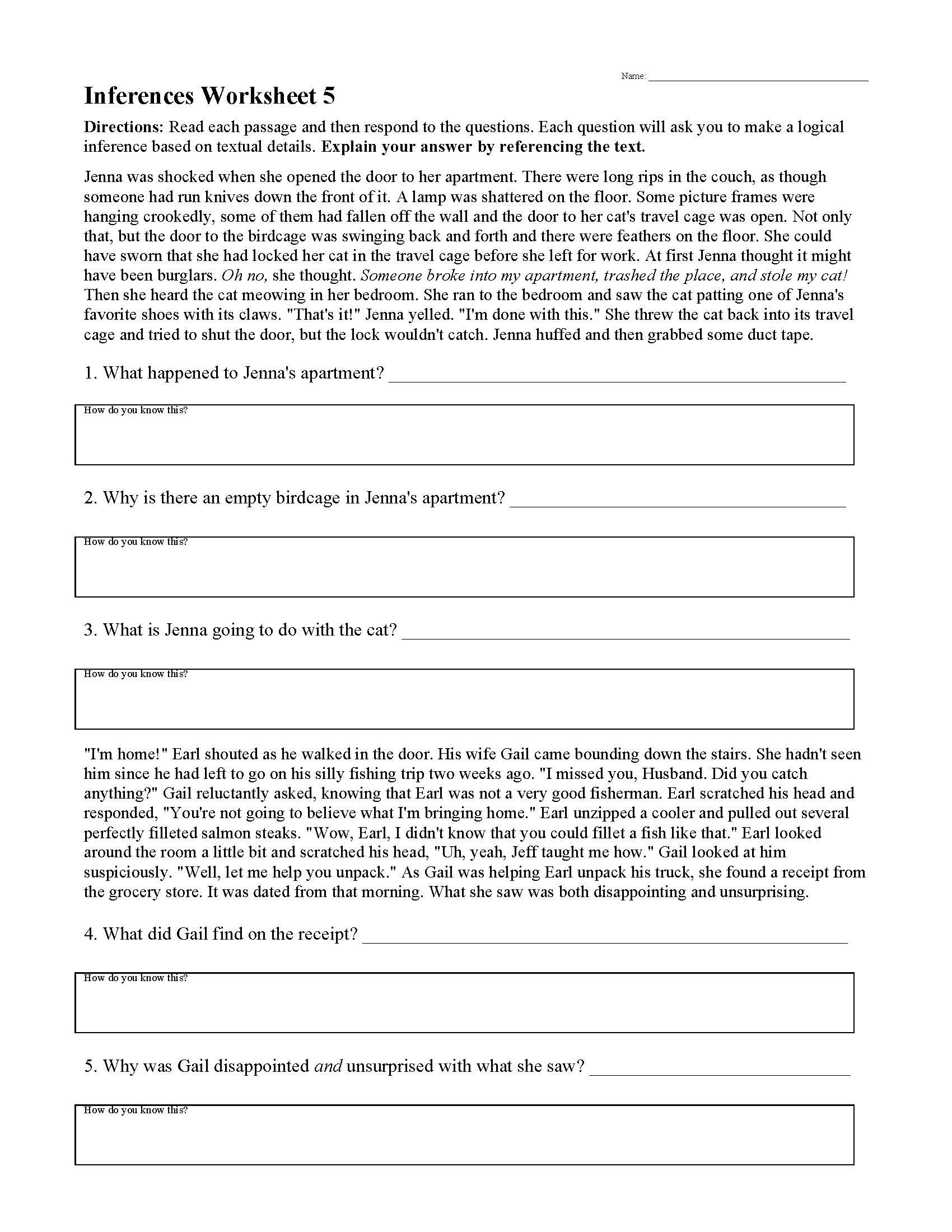 Middle School Inference Worksheets Inferences Worksheets