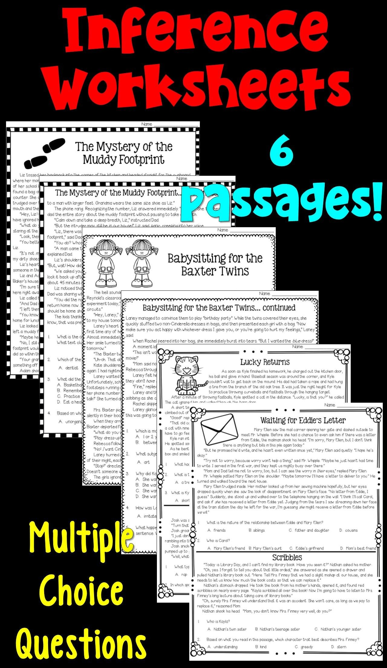 Middle School Inference Worksheets Inferences Worksheets Pdf and Digital