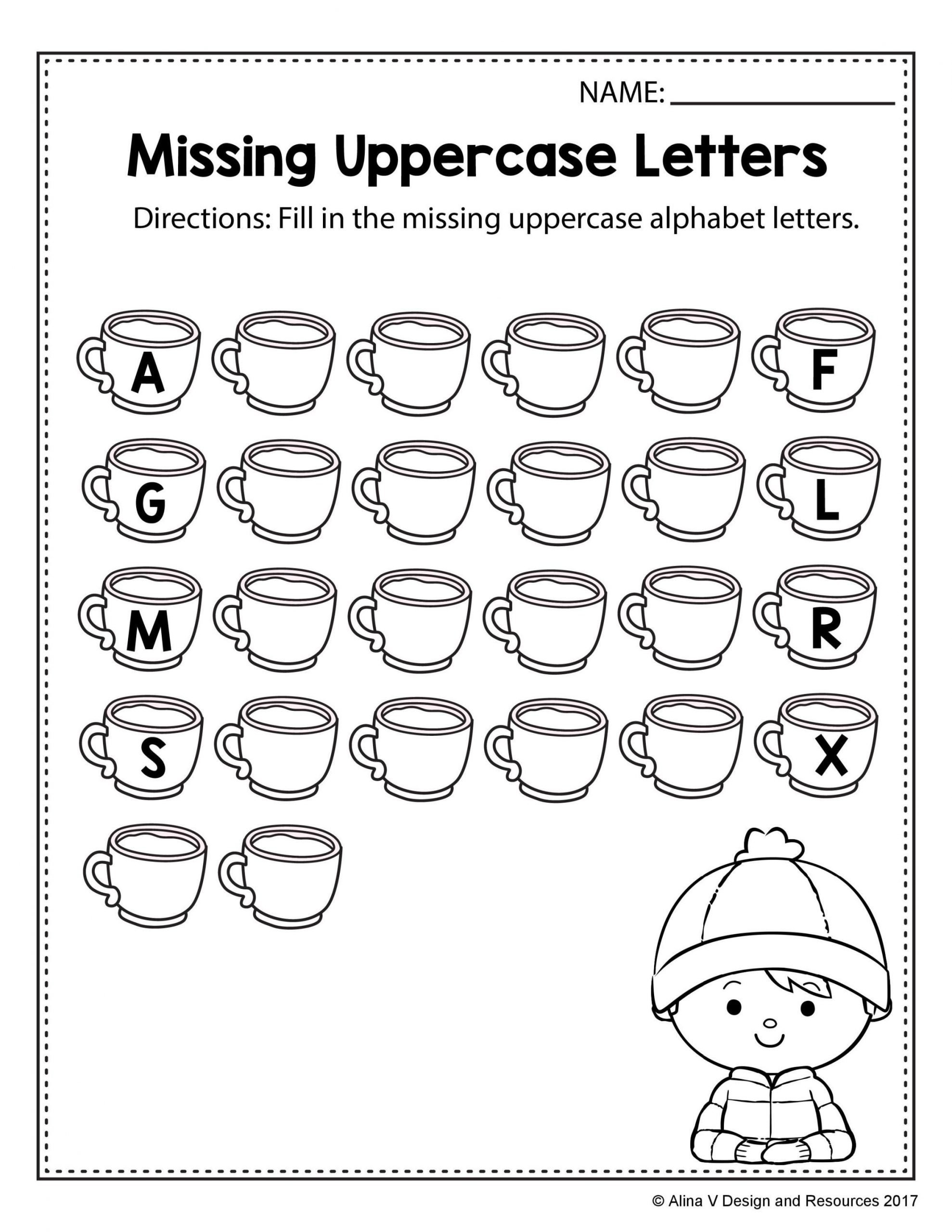 Missing Letter Alphabet Worksheets Free Winter Literacy Worksheet for Kindergarten No Prep