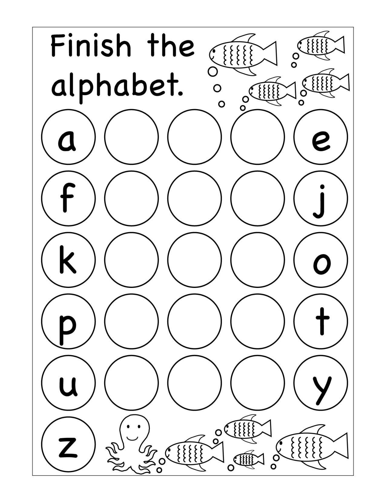Missing Letter Alphabet Worksheets Winter Missing Letters Kindergarten Worksheet Printable