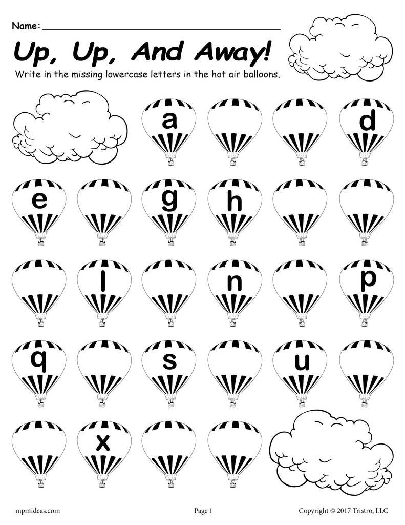 Missing Letter Worksheets for Kindergarten Printable Lowercase Alphabet Worksheet Fill In the Missing Letters Hot Air Balloon theme