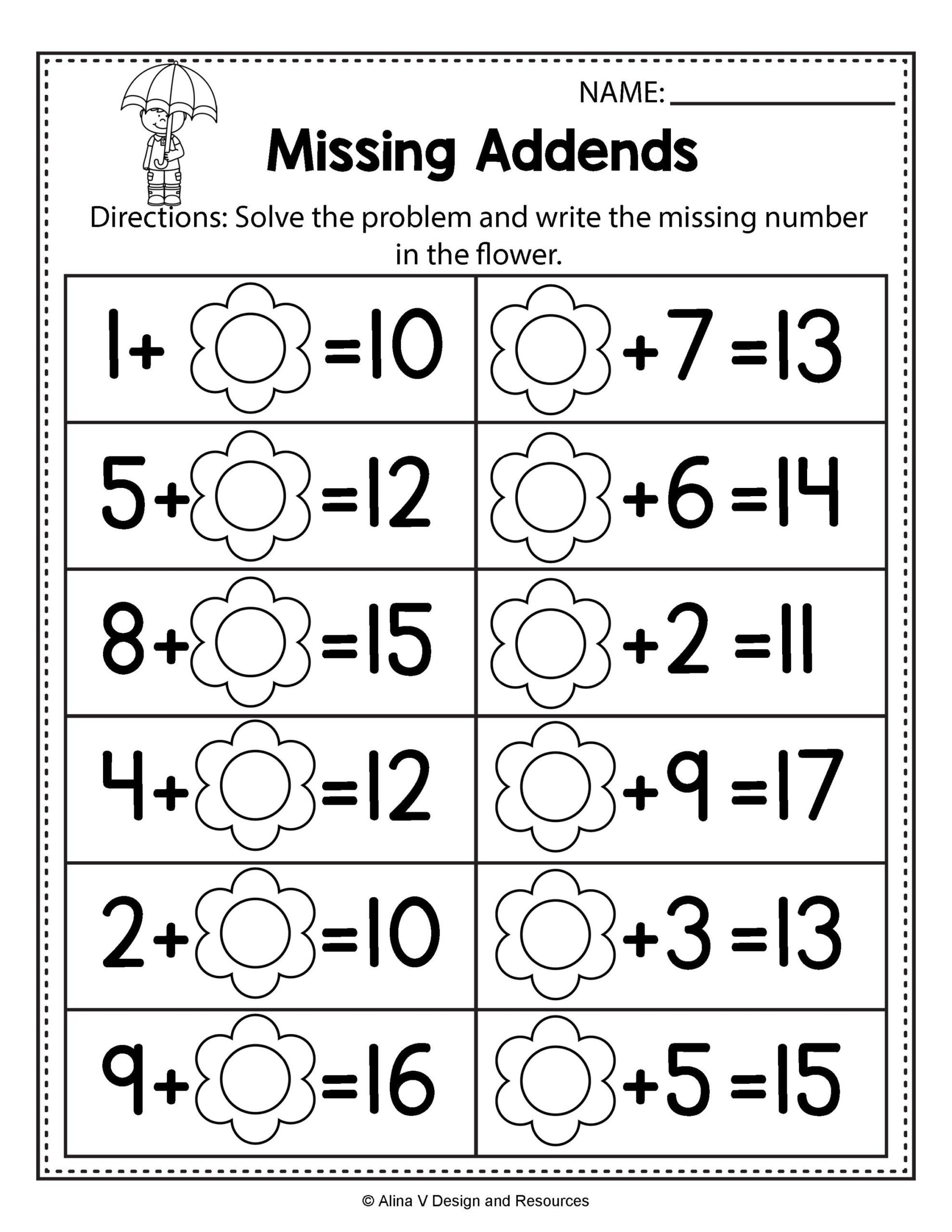 Missing Number Worksheet Kindergarten Free Spring Math Worksheets for Kindergarten No Prep First