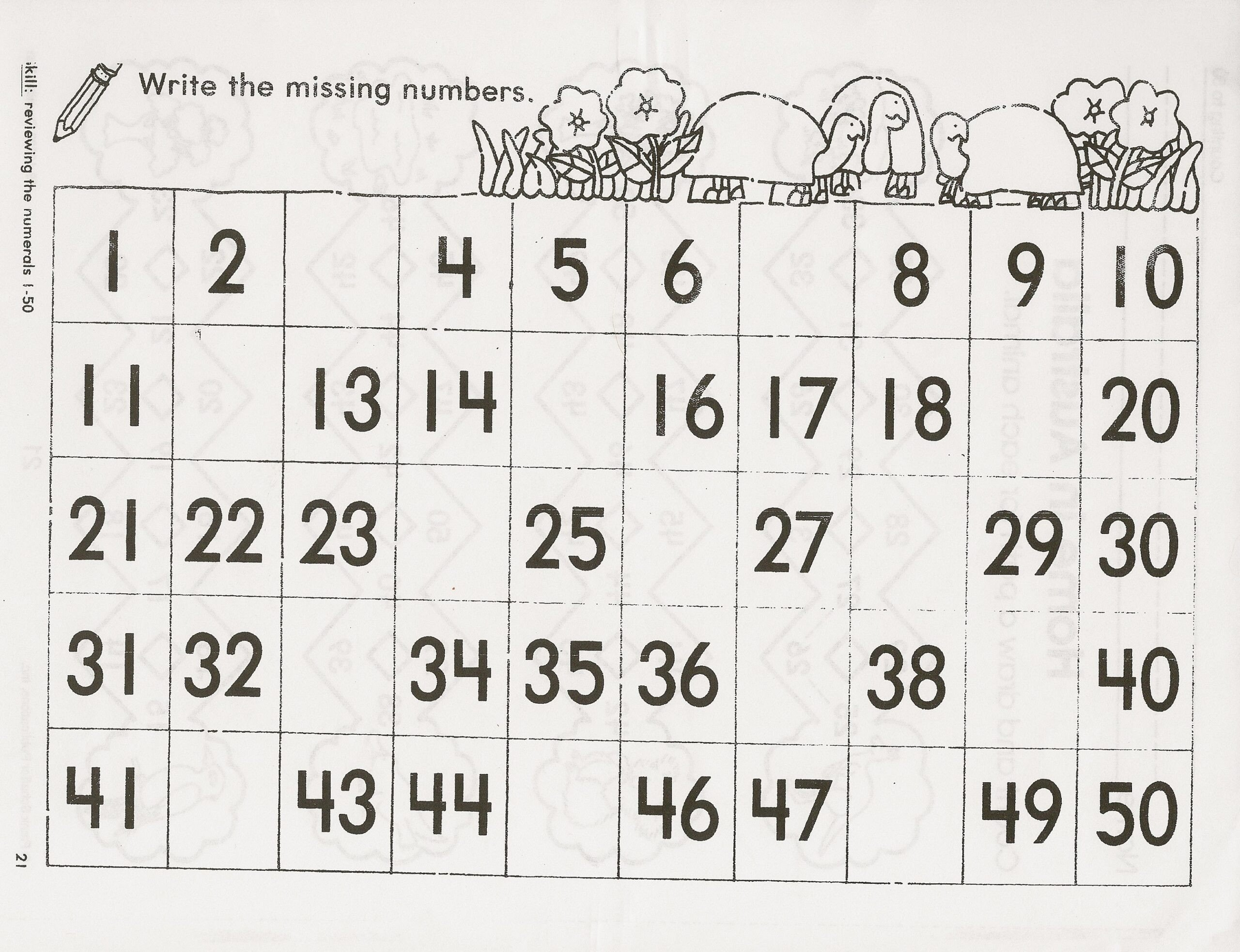 Missing Number Worksheet Kindergarten Kindergarten Number Chart Numbers to Worksheets for Children