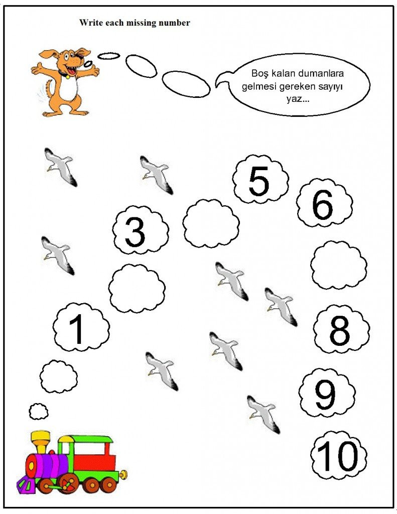 Missing Number Worksheet Kindergarten Missing Number Worksheet for Kids 1 10