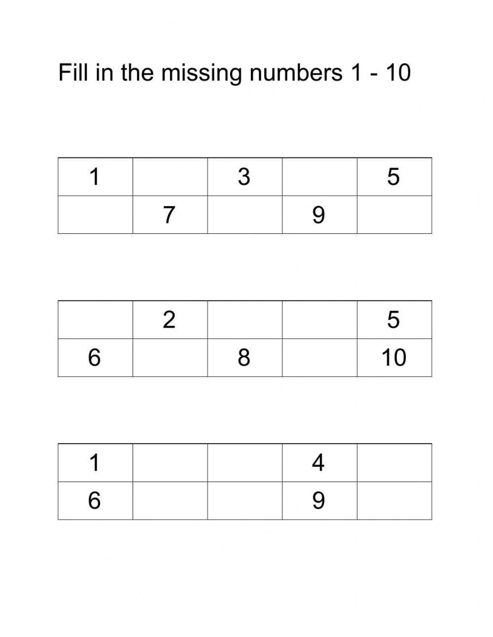 Missing Number Worksheets 1 10 Fill In the Missing Numbers 1 10 Interactive Worksheet