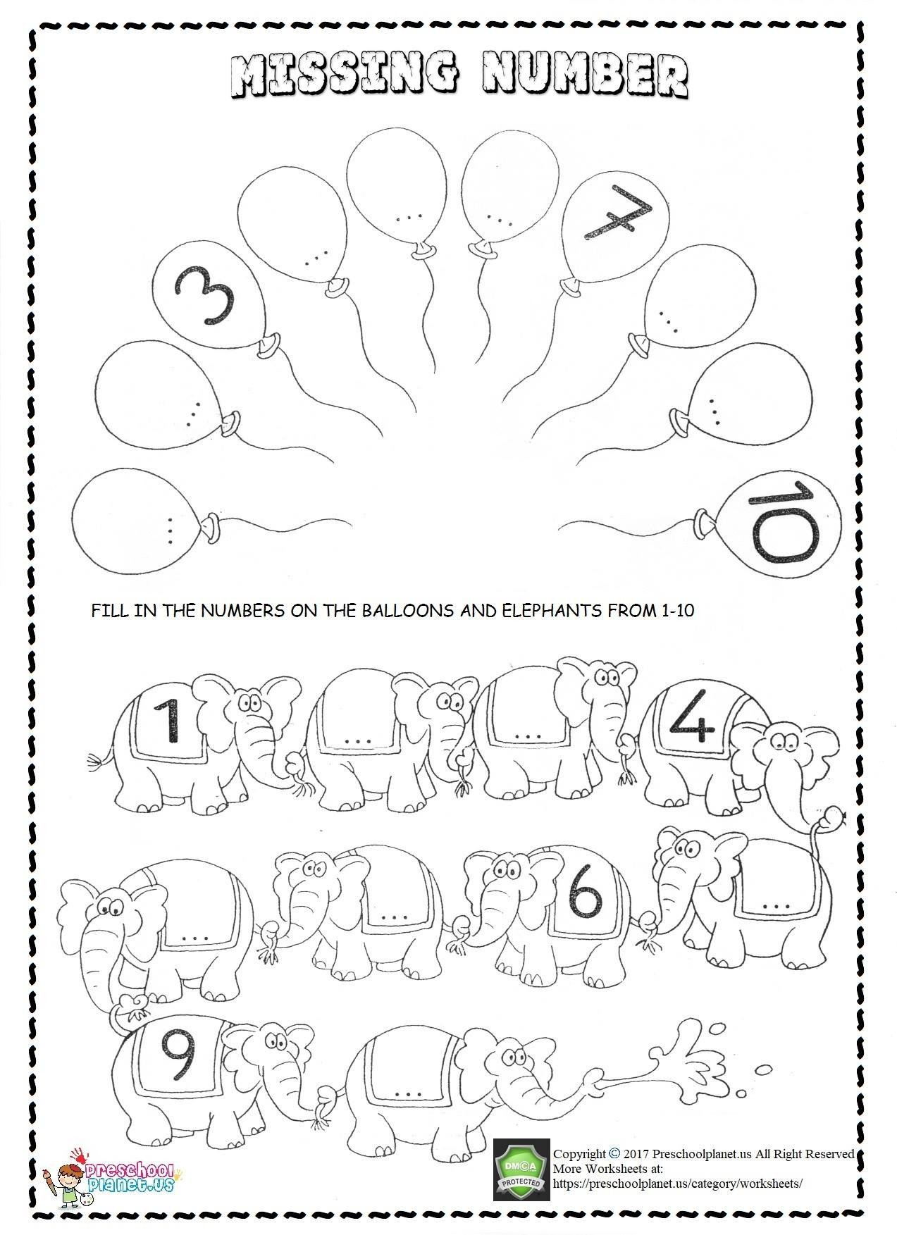Missing Number Worksheets 1 10 Missing Number Worksheets for Kids – Preschoolplanet
