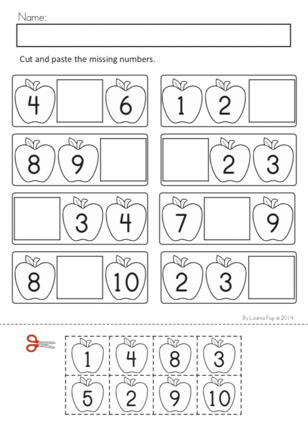 Missing Number Worksheets 1 10 Number order 1 10 Interactive Worksheet