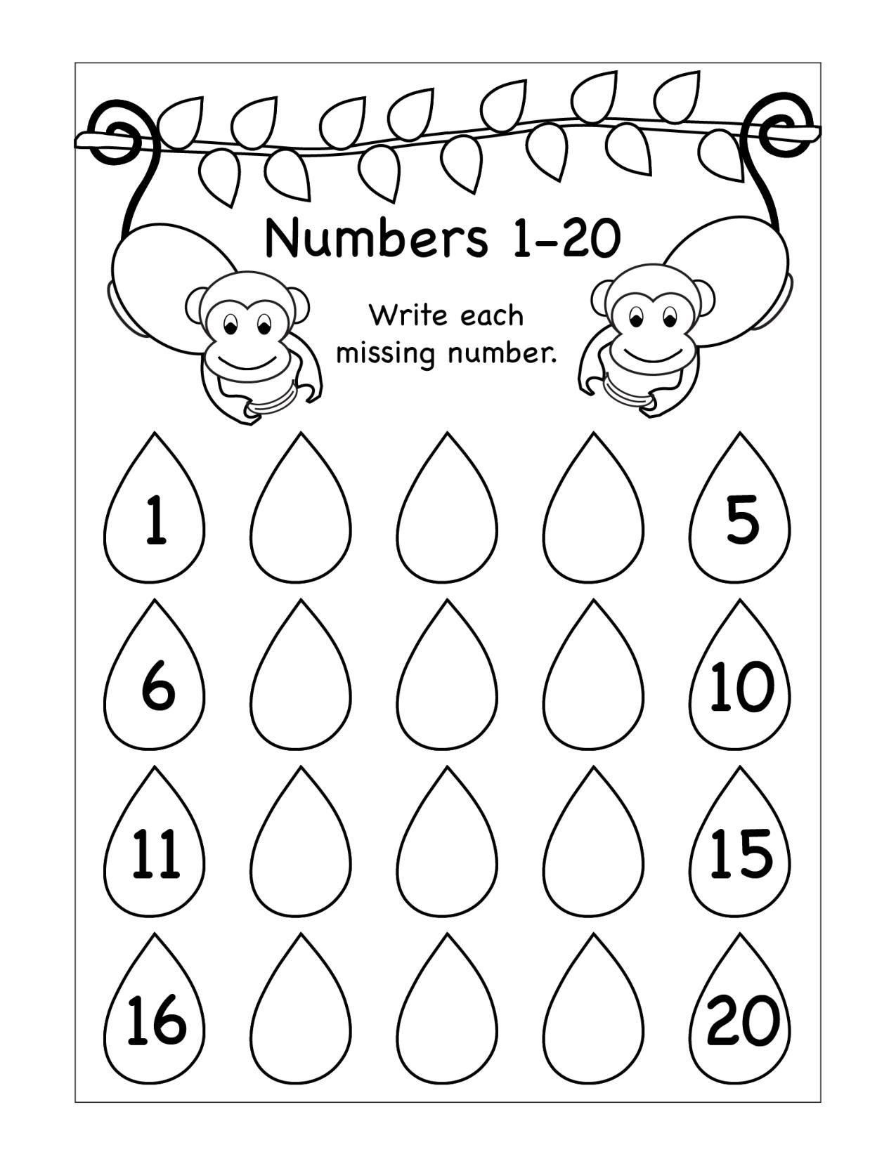 Missing Number Worksheets 1 10 Worksheets Worksheet for Kindergarten Missing Numbers
