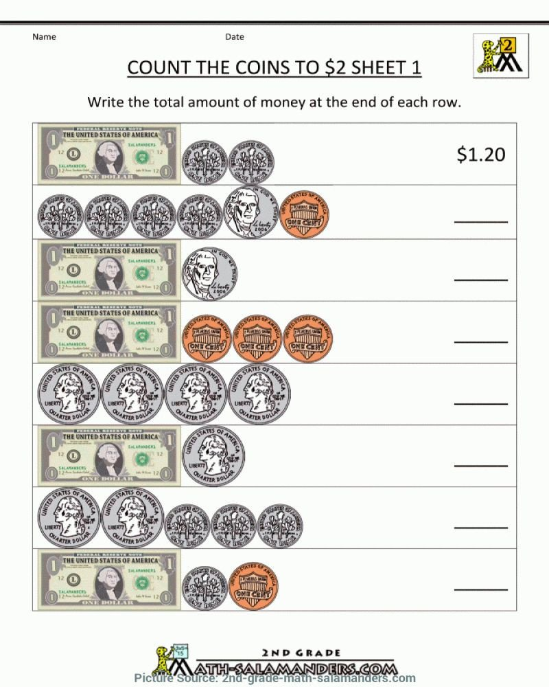Money Worksheets for Second Grade Money Math Worksheets 2nd Grade