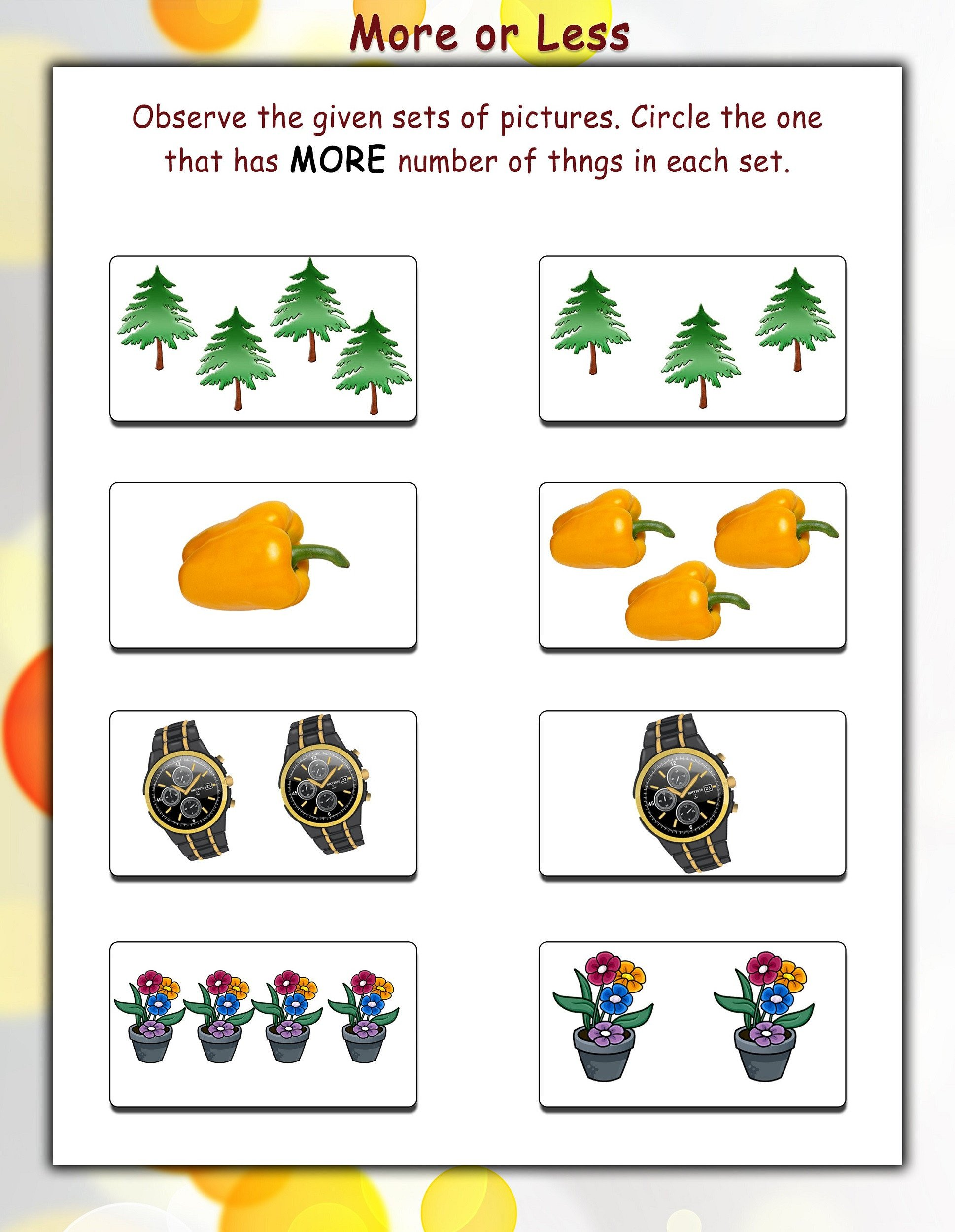 more and less worksheets colorful