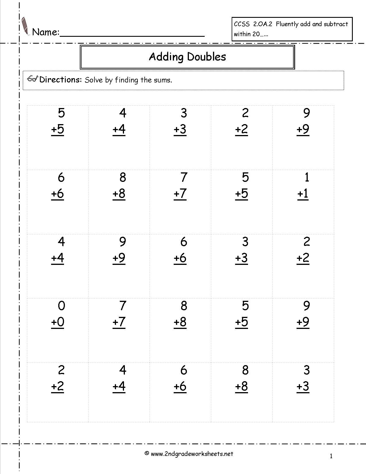 Multiplication Facts Worksheet Generator Free Single Digit Addition Worksheets Basic Facts to Doubles