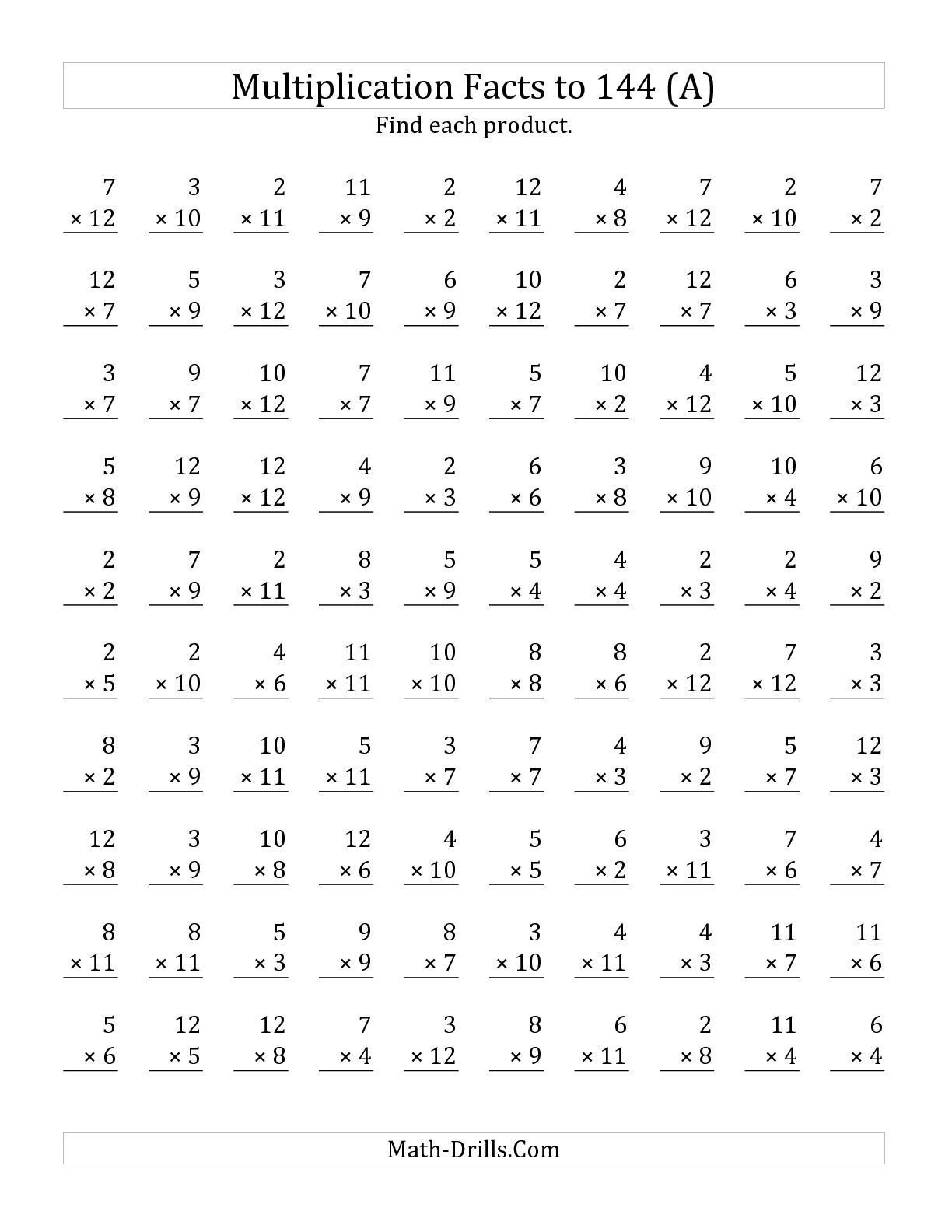 Multiplication Facts Worksheet Generator Math Fast Facts Worksheets