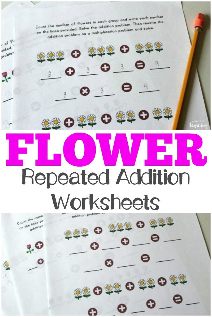 Use these spring themed flower repeated addition worksheets to help kids practice learning how to multiply