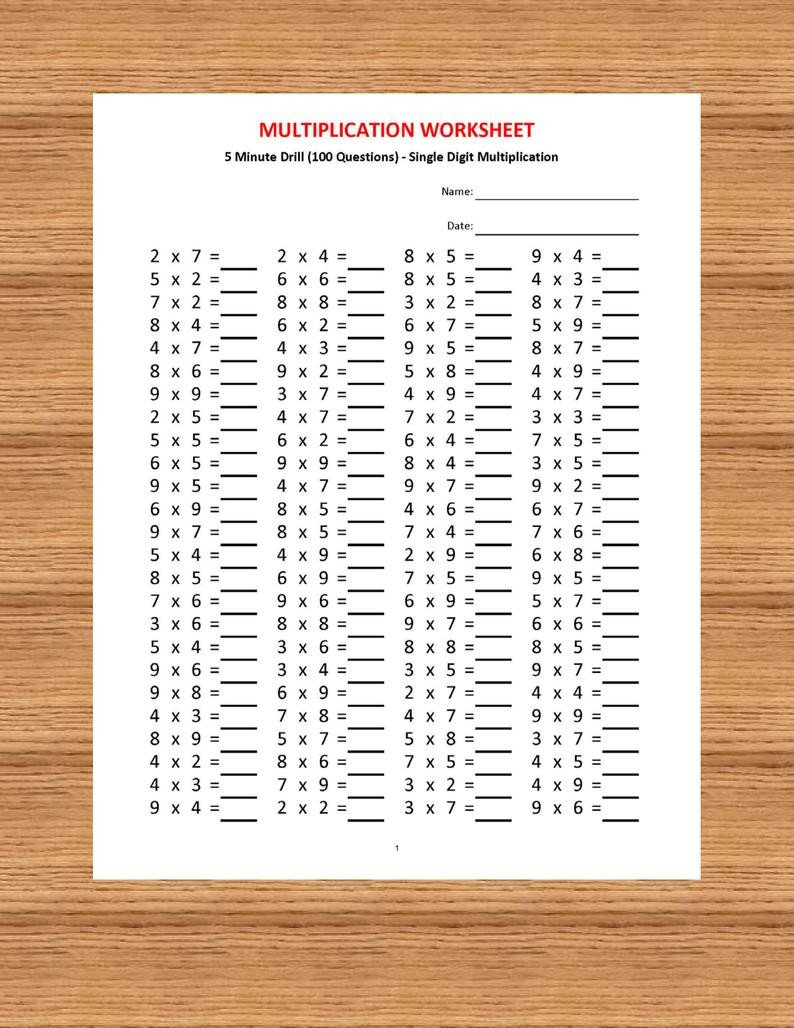 Multiplication Worksheets 0 12 Printable Multiplication 5 Minute Drill H 10 Math Worksheets with Answers Pdf Year 2 3 4 Grade 2 3 4 Printable Worksheets Basic Multiplication