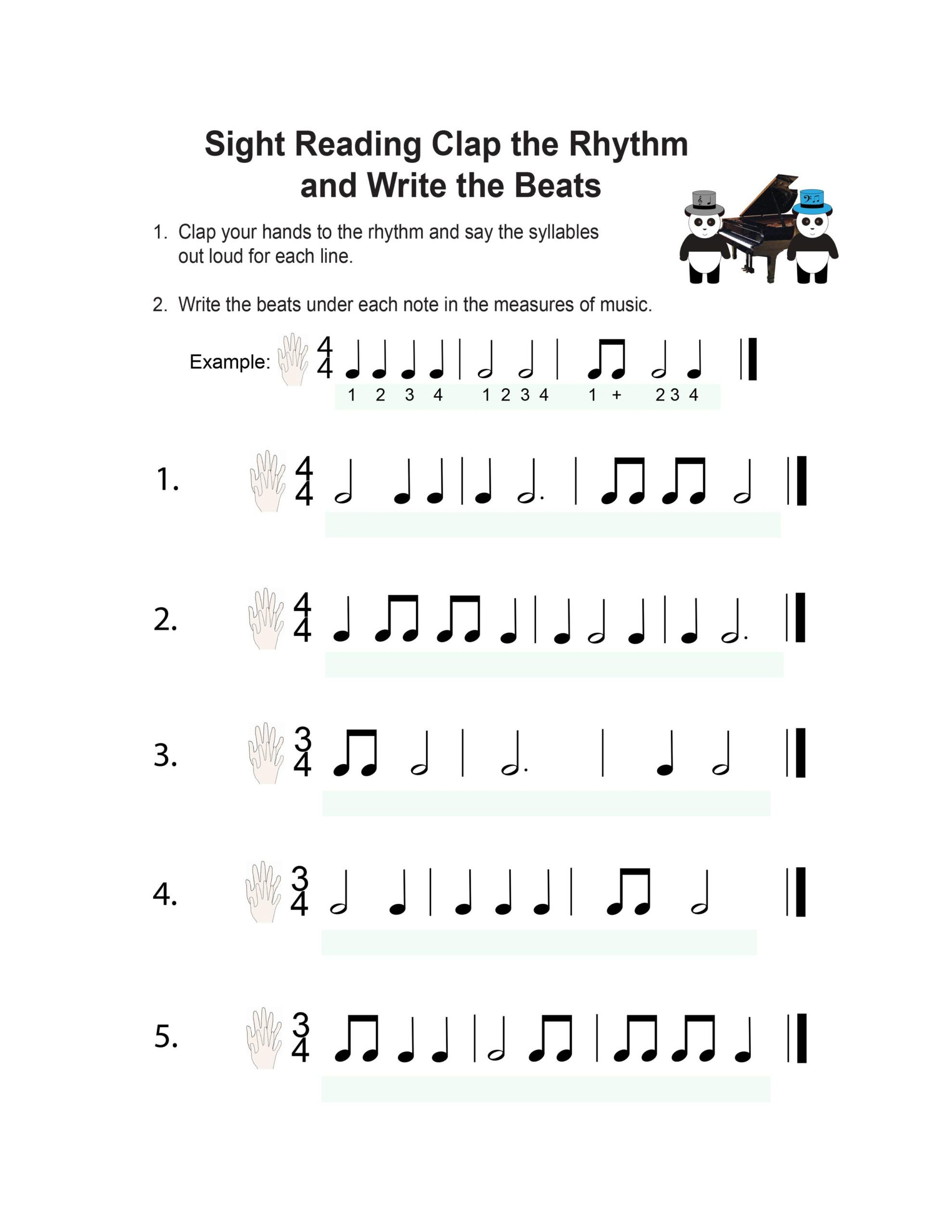 Music Counting Worksheets Book Piano Lesson Music Worksheets Pandastic Designs
