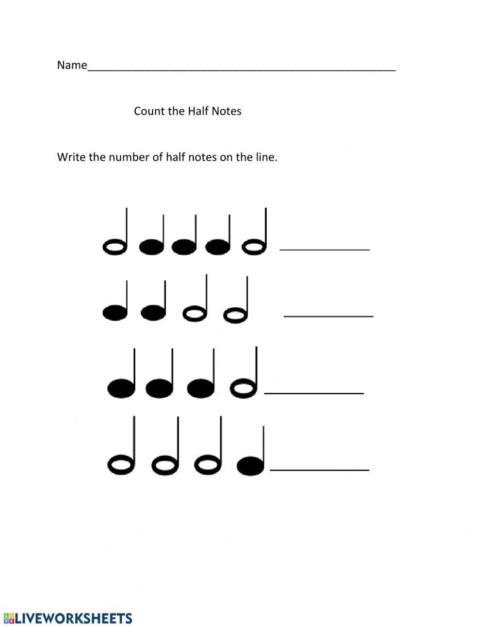 Music Counting Worksheets Counting Half Notes and Quarter Notes Interactive Worksheet