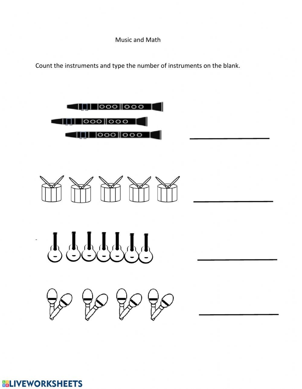 Music Counting Worksheets Counting Instruments Interactive Worksheet