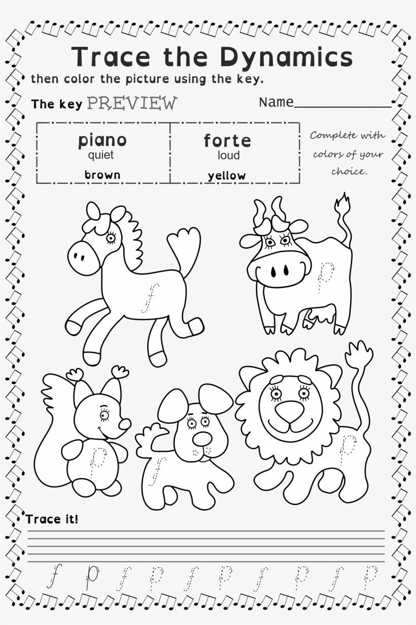 coloring book trace and color worksheets for beginners music free trace photo