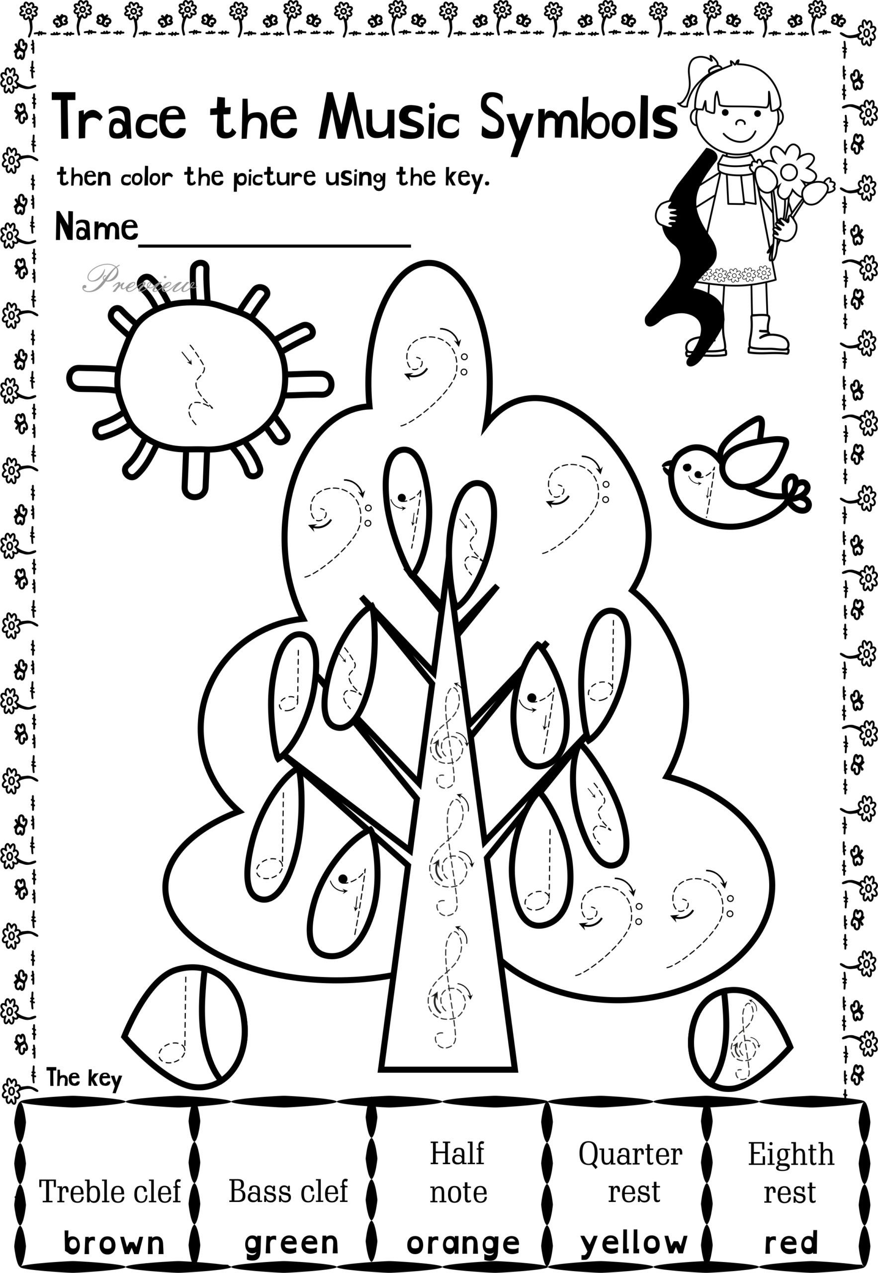 music themed coloring at drawings free worksheets for kids math refresher multiplying scaled