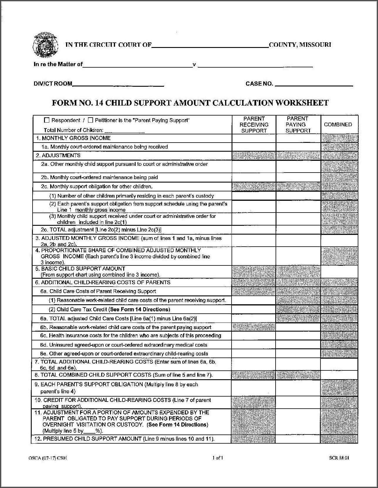 Nc Child Support Worksheet C Nc Child Custody Worksheets