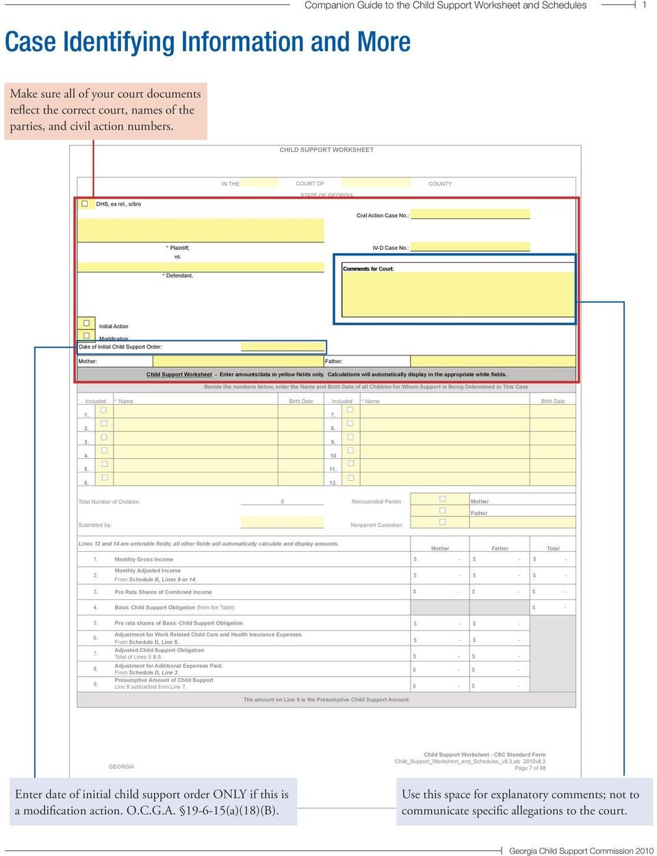 Nc Child Support Worksheet C Panion Guide to Child Support Worksheet and Schedules