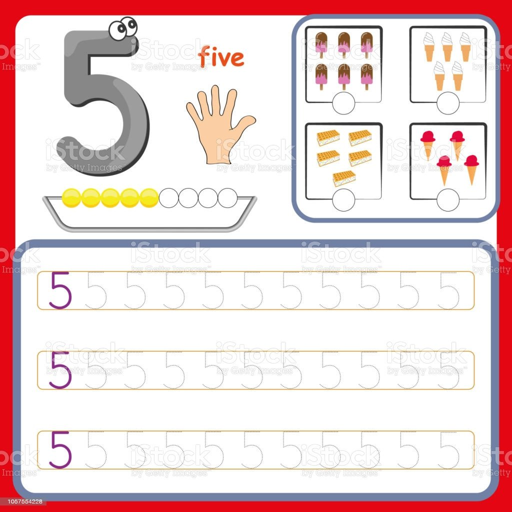 Number Tracing Worksheets for Kindergarten Number Cards Counting and Writing Numbers Learning Numbers Numbers Tracing Worksheet for Preschool Stock Illustration Download Image now