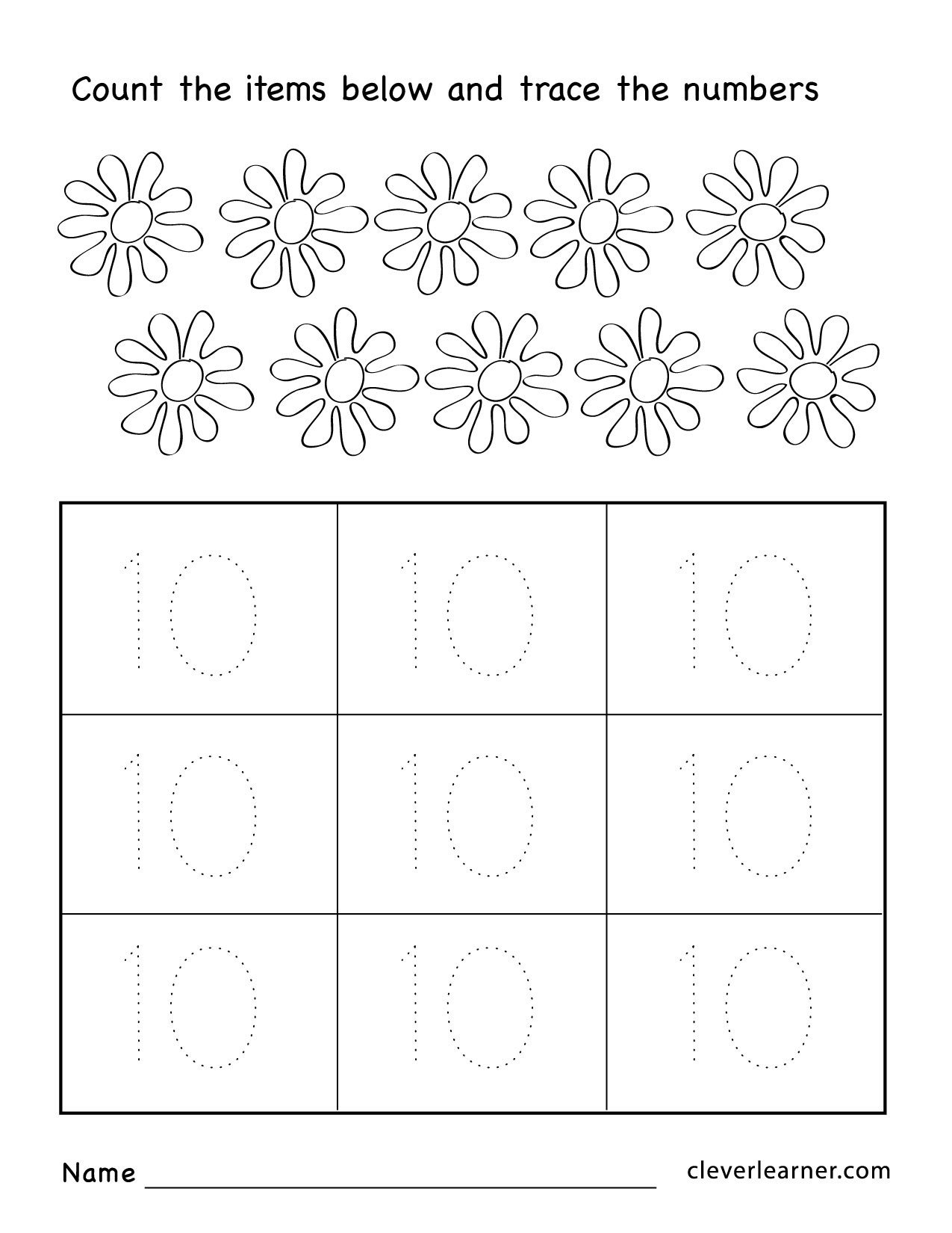 Number Tracing Worksheets for Kindergarten Number Ten Writing Counting and Identification Printable