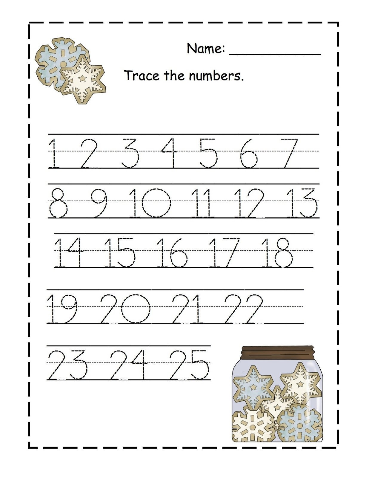 Number Tracing Worksheets for Kindergarten Trace Numbers 1 100