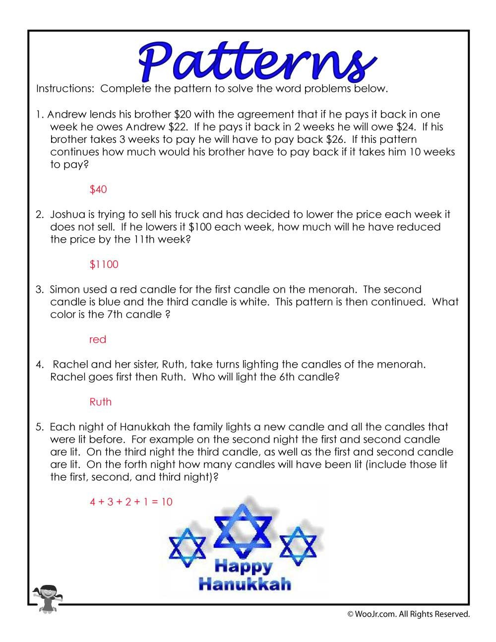 Numerical Patterns Worksheets 3rd Grade Math Patterns Word Problems Answer Key
