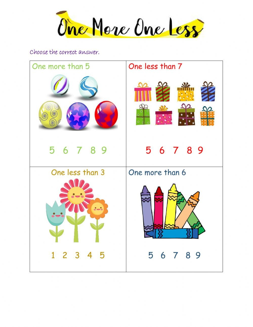One Less Worksheet E More and One Less Interactive Worksheet