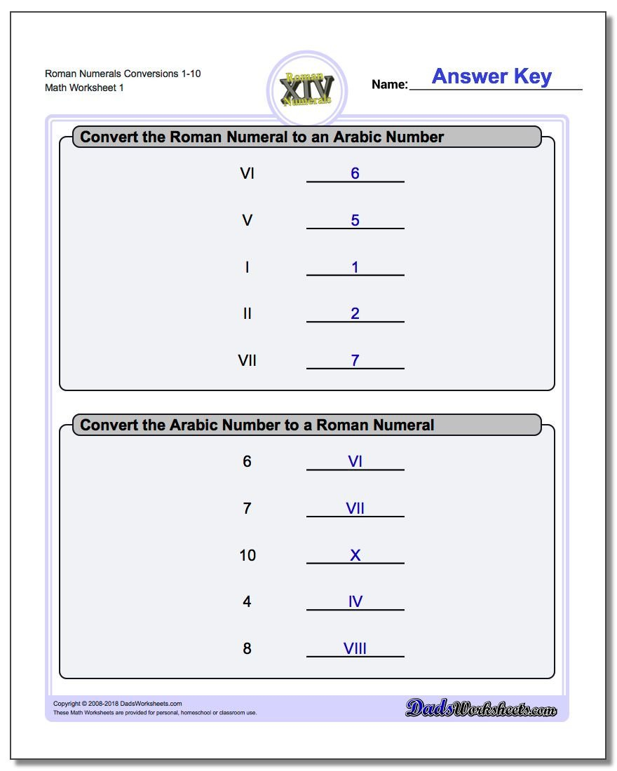 One Less Worksheet Roman Numerals